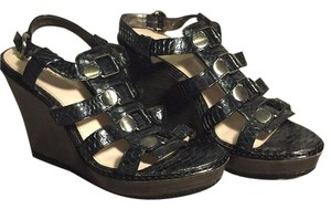 Coach Metallic black Wedges