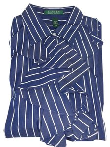 Lauren Ralph Lauren Navy/white Stripe Long Sleeve Ruffle Front Cotton Button Down Shirt BLUE/WHITE STRIPE