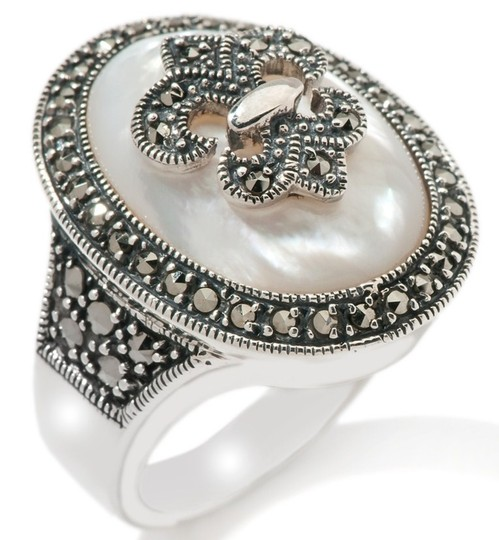 Dallas Prince Designs Dallas Prince Designs Mother-of-Pearl and Marcasite Sterling Silver Ring - Size 5