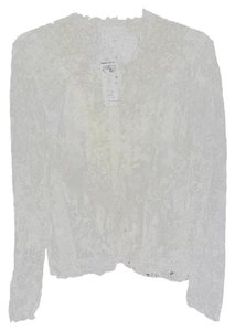 INC International Concepts Lace Ruffled Front Top CREAM