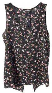 Express Floral Split Back Top Black