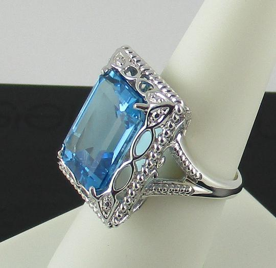 Other 11ct Swiss Blue Topaz Sterling Silver Octagon Ring - Size 7