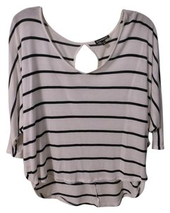 Express Striped Dolman Keyhole V-neck T Shirt White
