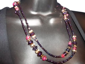 Nine West Nine West Iridescent Purple & Pink Faceted Bead Long Strand Necklace NWT