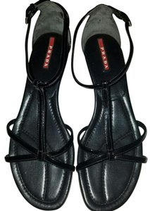 Prada Patent Leather Strappy Wedge black Sandals