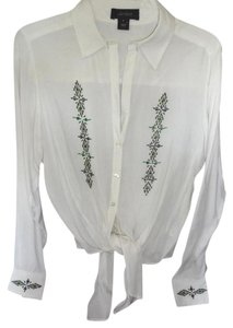 Karen Kane Beaded Button Down Shirt Off white