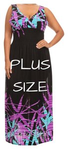 Purple and black Maxi Dress by Plus Size Curvy