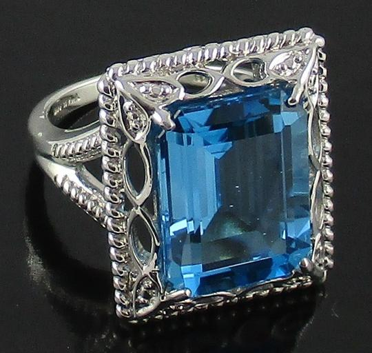 Other 11ct Swiss Blue Topaz Sterling Silver Octagon Ring - Size 8