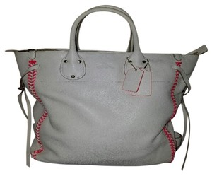 Coach F35156 Tatum Neon Pink Whiplash Leather Tote in white,neon pink