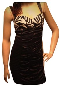 LOVE TEASE Zebra Ribbed Club Tight Dress