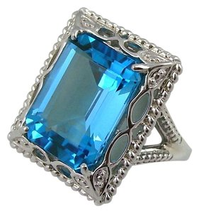 11ct Swiss Blue Topaz Sterling Silver Octagon Ring - Size 6