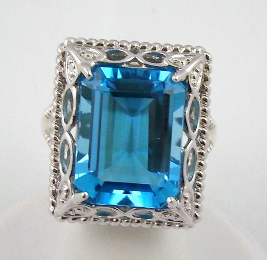 Other 11ct Swiss Blue Topaz Sterling Silver Octagon Ring - Size 6