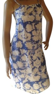Blue White Maxi Dress by Calvin Klein Floral Daisy Summer Ck Hi Lo