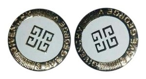 Givenchy Givenchy vintage gold white logo clip on earrings