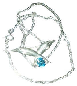 925 sterling silver dolphin necklace blue topaz