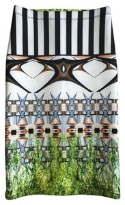 Clover Canyon Neoprene Fitted Stretchy Skirt Black, White and Greens