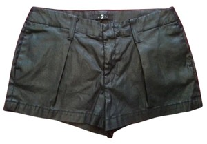 7 For All Mankind Short Faux Leather Shorts Black