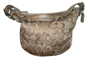 Coach Brown Khaki Leather Handle Jacquard Discount Hobo Bag