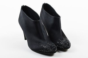 Chanel Satin Crystal Embellished Heeled Black Boots