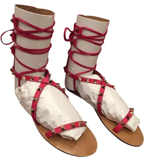 Preload https://img-static.tradesy.com/item/16458832/valentino-pink-rockstud-leather-strap-gladiator-ankle-flat-37-sandals-size-us-7-regular-m-b-0-1-540-540.jpg