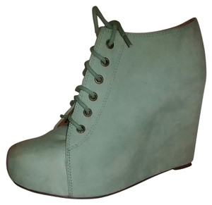 Jeffrey Campbell 99 Tie Wedge Suede Mint Green Wedges
