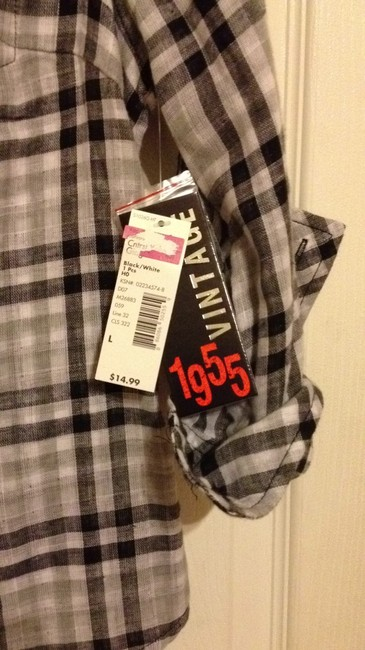 1955 Top black, grey and white plaid