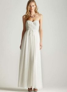 Adrianna Papell Ivory Polyester with Tulle Bodice Strapless Gown Feminine Wedding Dress Size 10 (M)