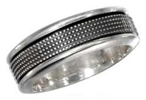 unknown Sterling Silver Antiqued Worry Ring with Beaded Spinning Band