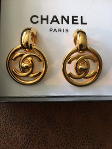 Chanel Authentic Rare Chanel CC Turnlock Vintage Drop Earrings