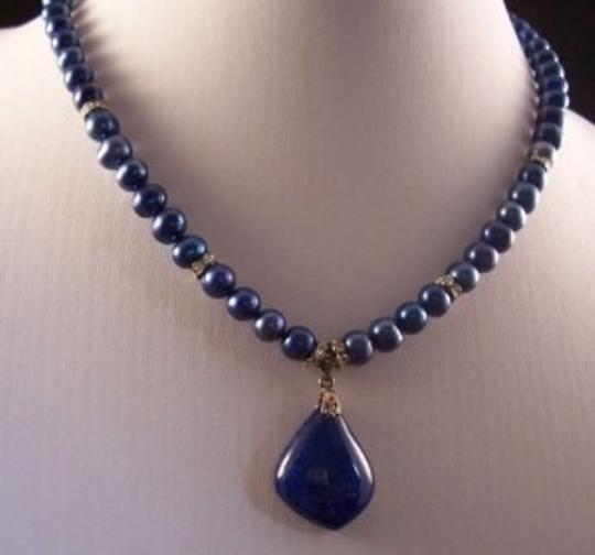 Jane Massie Creations Dark Blue/Navy Pearl Necklace with Lapis Pendant