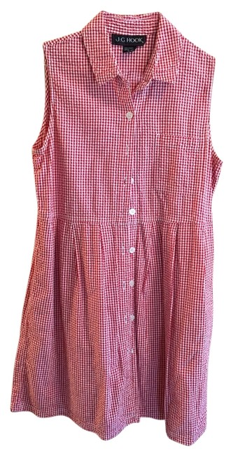 Item - Red White Above Knee Short Casual Dress Size 16 (XL, Plus 0x)