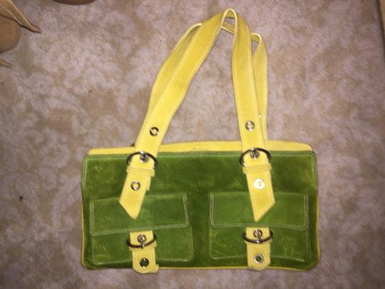 Via Republica Green and yellow Clutch