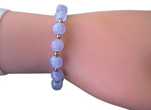 14k Yellow Gold Translucent Light Purple Jadeite Jade Bracelet