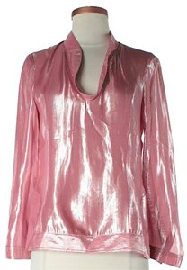 Tory Burch Silk Metallic Top Pink
