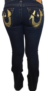 True Religion Gold Statement Boot Cut Jeans-Dark Rinse