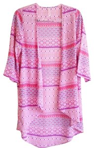 My Story Colorful Casual Dressy Batwing Open Front Cardigan Coverup Cover Up Lightweight Pink Purple Teal Patterned Unique Cute Tunic