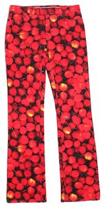 Dolce&Gabbana Cherries Print Denim Low Rise Straight Leg Jeans