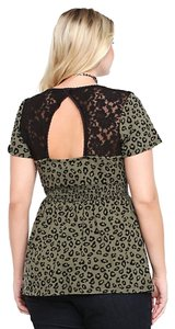 Torrid New W/ Tags Leopard Print Top Olive Green