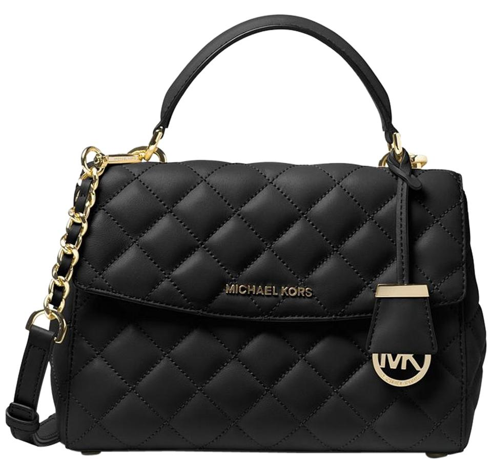 fb8835a6e8f2 Michael Kors Ava Small Top Handle Quilted Black Gold Black Gold Leather  Satchel
