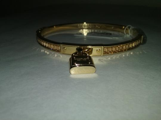 Michael Kors LAST ONE.. Topaz & Gold-Tone Padlock Hinge Bangle Bracelet