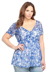 Torrid New W/ Tags Floral Print Lace 2x 18/20 Top Floral Blue