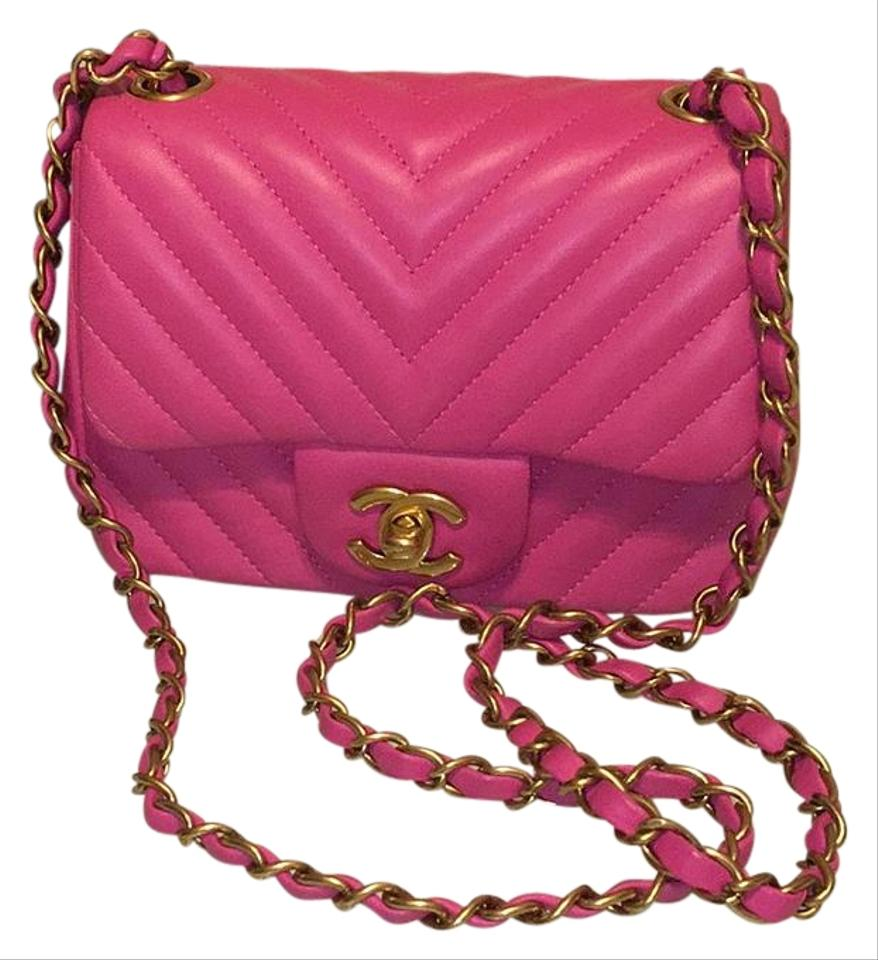 3cce5c568709 Chanel Mini Chevron Classic Gold Hardware Fuschia/Hot Pink Lambskin ...