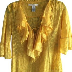 Diane von Furstenberg Feminine Silk Summer Vintage Look Top Yellow