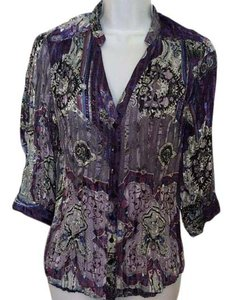 Violet & Claire Vintage Evening Holiday & Button Down Shirt Purple, blue, silver