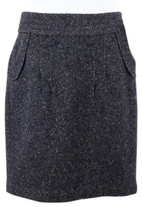 CAbi Navy Taupe Tweed Front Skirt