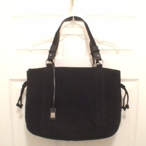 Ralph Lauren Suede Leather Large Tote in Black