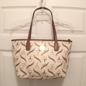 Ralph Lauren Medium Size Equestrian Lrl Satchel Tote in White Brown Tan