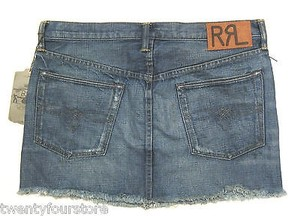Ralph Lauren Rrl 3861363 Rslf Icon Summer Distressed Denim Mini Skirt Blue