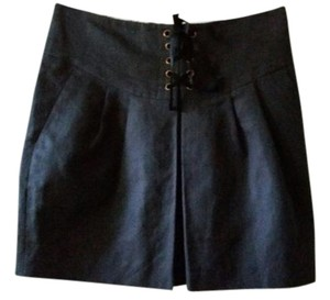 Leifsdottir Ribbon Lace-up Grommets Pockets Mini Skirt Deep Graphite Gray