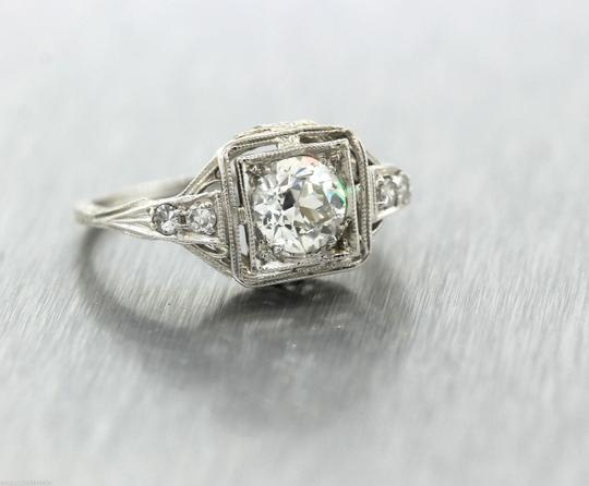 Other Ladies Antique Art Deco 1.15ctw Diamond 18K White Gold Filigree Engagement Ring